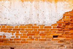 老红砖墙壁纹理损坏了布朗抽象空白的斯通沃尔背景 免版税库存照片