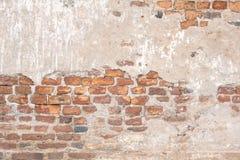 老红砖墙壁纹理损坏了布朗抽象空白的斯通沃尔背景 免版税库存图片