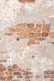 老红砖墙壁纹理损坏了布朗抽象空白的斯通沃尔背景 图库摄影