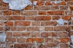 老红砖墙壁纹理背景黑暗 免版税库存照片