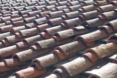 老红色屋顶背景 免版税库存图片