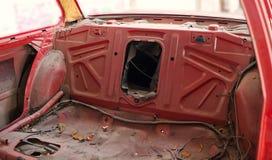 老红色汽车的后面零件 免版税库存图片