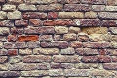 老红色葡萄酒砖墙纹理背景 免版税库存照片