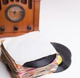 老纪录和收音机 免版税库存图片