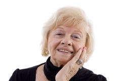 老纵向微笑的妇女 免版税库存照片