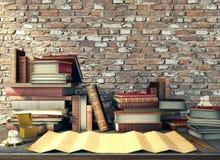 老纸和古老书在研究桌上在中世纪场面 免版税库存照片