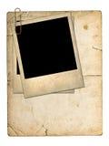 老纸板卡片和一张老照片 库存图片