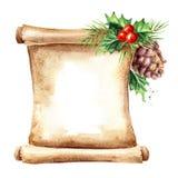 老纸纸卷与圣诞节元素的 新年卡片模板 水彩手拉的例证,隔绝在白色后面 向量例证