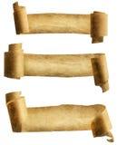 老纸纸卷丝带,羊皮纸卷象,卷曲的纸 免版税库存图片