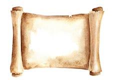 老纸纸卷或水平的羊皮纸 在白色背景隔绝的水彩手拉的例证 库存例证