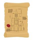 老纸计划的伯尔尼大教堂 古老滚动 计划  免版税图库摄影