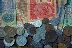 老纸钞票和小苏联硬币纹理  免版税图库摄影
