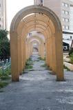 老结构曲拱在Tulcea 库存照片