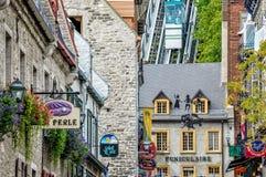 老缆索铁路在魁北克历史城区,加拿大 免版税库存照片