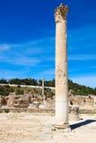 老罗马帝国废墟在迦太基-突尼斯 蓝天, sunn 图库摄影
