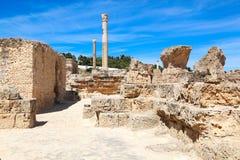 老罗马帝国废墟在迦太基-突尼斯 图库摄影