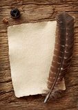 老羊皮纸笔纤管 免版税库存照片