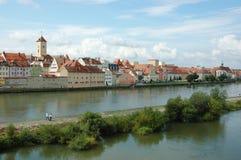 老美丽的城镇雷根斯堡,巴伐利亚,德国全景  库存图片