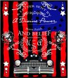 老美国汽车葡萄酒经典减速火箭的人T恤杉图形设计 免版税库存照片