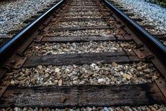 老美国火车和铁轨 库存图片