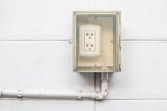 老肮脏的室外电源插座 库存图片