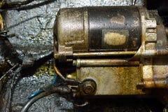 老肮脏的马达引擎 库存照片