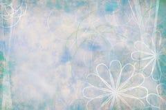 老背景蓝绿色花卉grunge 库存照片