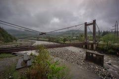 老腐烂的桥梁在乔治亚 库存照片
