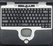 老膝上型计算机键盘特写镜头  免版税库存照片