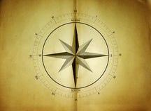 老航海在一张老纸罗盘 免版税库存图片