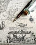 老航行地图、海盗&暗藏的珍宝概念 免版税库存图片