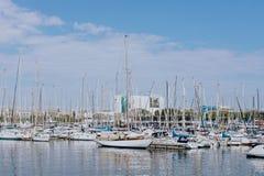 老船舶口岸在巴塞罗那 库存照片
