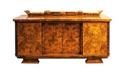 老艺术装饰古董碗柜,核桃 库存图片