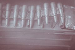 老苏维埃RPD扫射子弹传送带 RPD (Ruchnoy Pulemyot D 库存图片