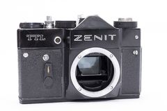 老苏维埃Zenit TTL 35 mm在白色隔绝的影片照相机 免版税库存照片