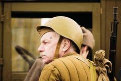 老苏联军队战士 戈梅利,白俄罗斯 库存照片