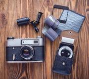 老苏联测距仪照相机、曝光表和影片摄影另一诱捕  库存照片