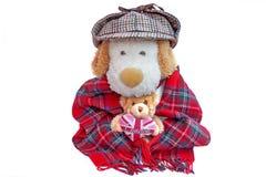老英国人和玩具熊与伦敦爱心脏 库存照片