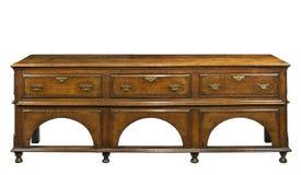 老英国橡木梳妆台自助餐服务桌 免版税库存照片