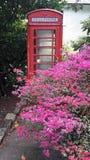 老英国红色电话亭 免版税库存照片
