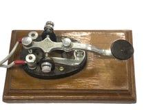 老莫尔斯电报键通信机 库存图片