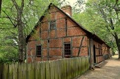 老萨利姆, NC :18世纪Moravian议院 免版税库存照片