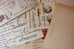 老葡萄酒信件 免版税库存照片