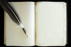 老葡萄酒减速火箭的书空白页和羽毛笔 免版税库存图片