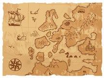 老葡萄酒减速火箭的古老地图古董地理背景传染媒介例证 免版税库存照片