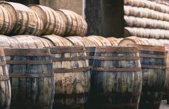 老葡萄酒威士忌酒桶按顺序安置的填装了威士忌酒  库存照片
