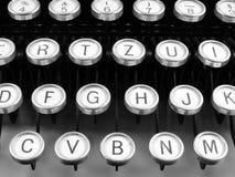 老葡萄酒德国人打字机信件和空键细节  免版税库存图片