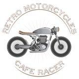 老葡萄酒摩托车商标 咖啡馆竟赛者题材 免版税库存照片