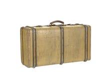 老葡萄酒木手提箱,查出在白色 免版税库存图片