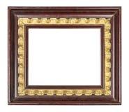 老葡萄酒棕色和金黄框架 库存图片